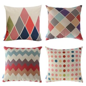 "WOMHOPE 4 Pcs - 17"" Colorful Geometry Style Cotton Linen Square Throw Pillow Case Decorative Cushion Cover Pillowcase Cushion Case"