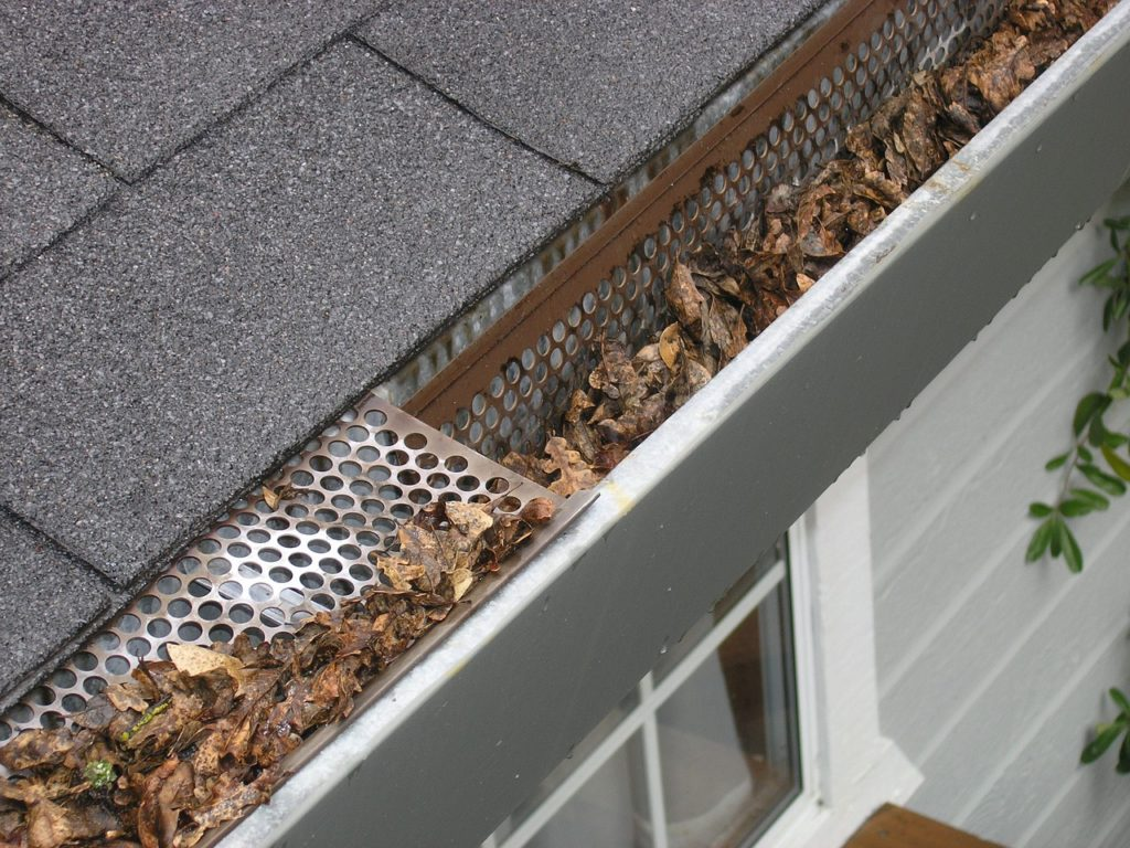 Dirty, clogged gutters should be cleaned in the spring.