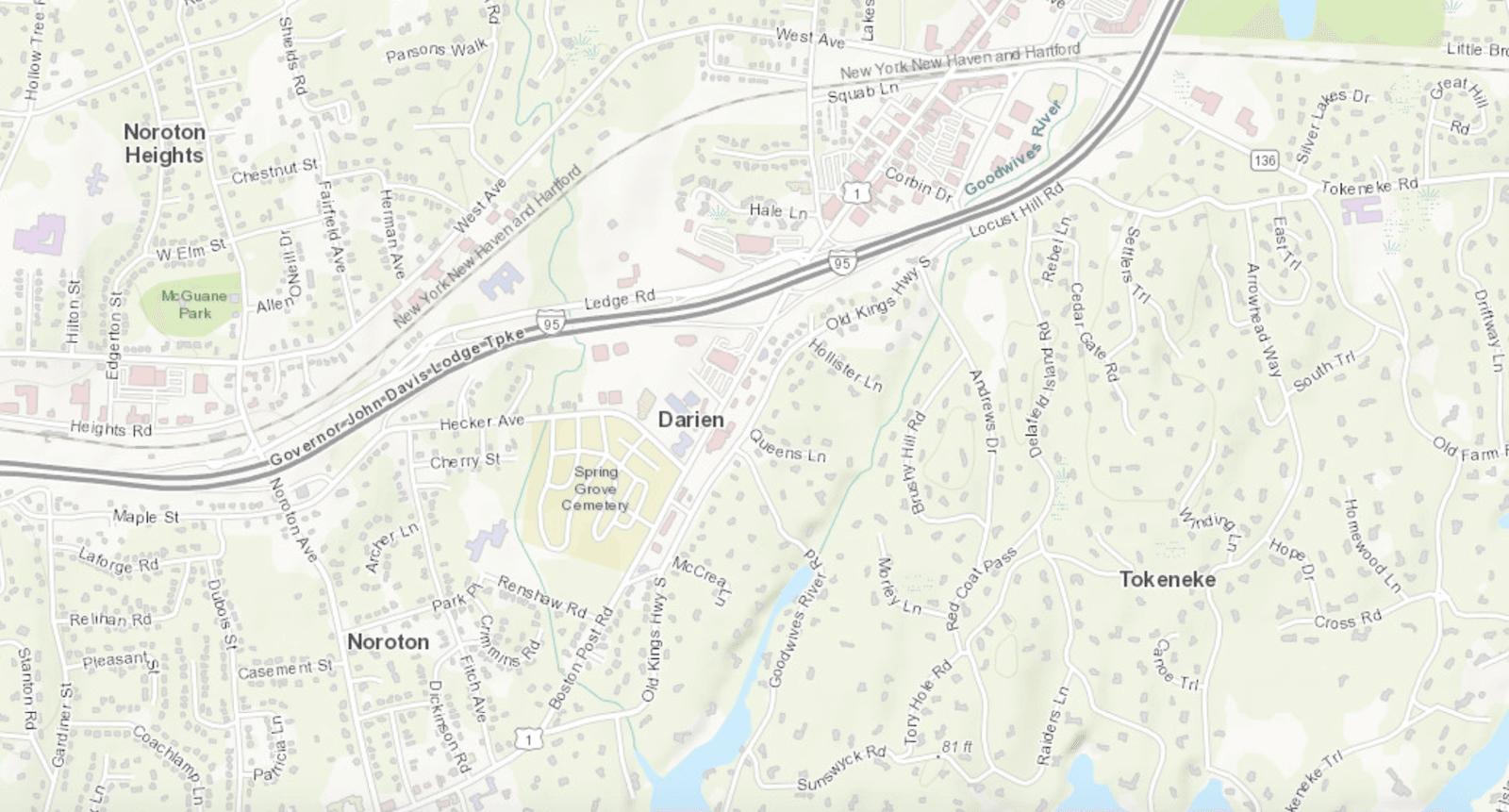 Street map of Darien, CT